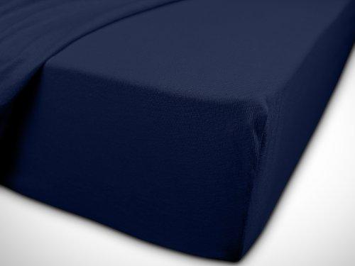 npluseins klassisches Jersey Spannbetttuch - erhältlich in 34 modernen Farben und 6 verschiedenen Größen - 100% Baumwolle, 70 x 140 cm, navyblau - 7