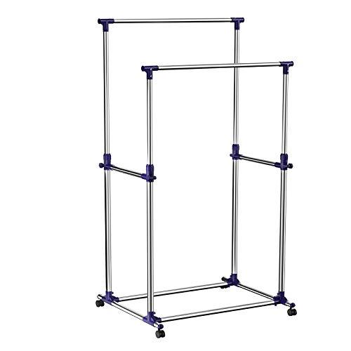 Songmics appendiabiti attaccapanni porta abiti a rotelle con ruote in acciaio altezza regolabile stand stender 2 aste, tubo rivestito di acciaio inox llr03l