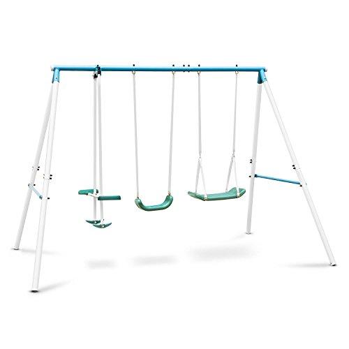 OneConcept Olav • Gartenschaukel • Kinderschaukel • Schaukelgestell • Kinderwippe • Stahlkonstruktion • robust • inkl. 4 gezackten Erdnägeln • max 120kg • für bis zu 4 Kinder gleichzeitig • blau-weiß