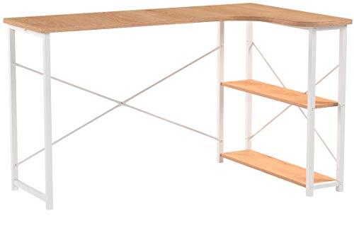 WOLTU TSB11hei Table d'ordinateur Table de Bureau Table de Travail en Bois et Acier,Environ 120x74x71,5 cm,12,8kg Nature Blanc