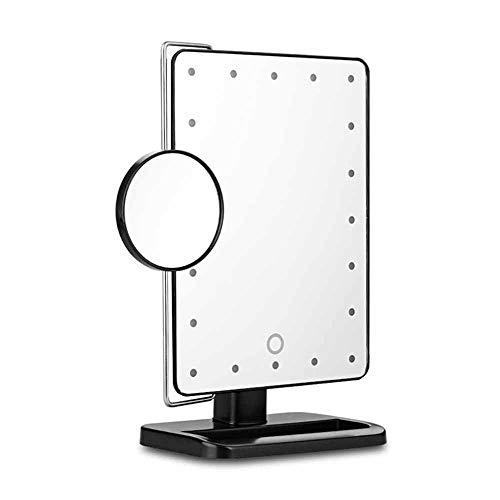 LOCGFF LED beleuchtete Kosmetikspiegel, 10X Vergrößerungsspiegel mit tragbaren Lichtern, schwarz in Vanity Stand Grad 180 ° drehbar für Maskenbildner und Kommoden