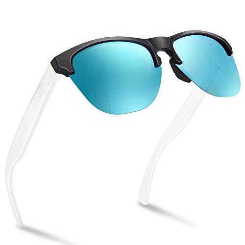 NWOUIIAY Sonnenbrille polarisierte Sportbrillen geeignet für männliche und weibliche mit UV400 Schutz Sonnenbrille für Autofahren Laufen Radfahren Angeln Golf (Blau-weiß)