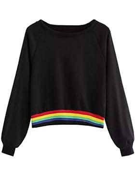 Jersey con capucha Sudadera moda fashion 2018 Otoño,Sonnena Sudadera con capucha a rayas manga larga Mujer blusa...