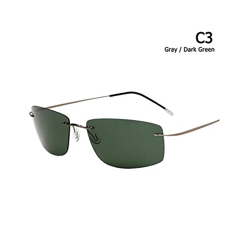 Golfbrille,New Fashion Rimless Square Style Titanium Polarisiert Sunglasses Ultralight Driving Brand Design Sun Glasses Oculos De Sol C3 ()