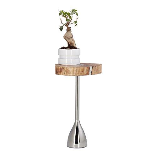 Relaxdays Table d'appoint Plateau en Bois d'Acacia Socle Acier Table Basse Design déco HxlxP: 51 x 30 x 28 cm, Nature