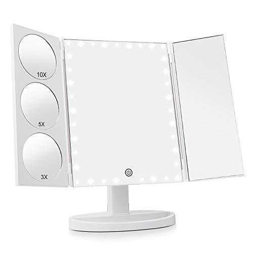 EASEHOLD verbesserte Miroir éclairé avec écran Tactile 35Leuchten Miroir grossissant 1x/3x/5x/10x Miroir de Table, Rotation de 360° Miroir cosmétique pour beauté, Maison, Hôtel, Studio (Blanc)