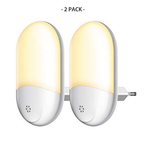 Nachtlichter für Steckdose Jelife 2 Stück LED Nachtlicht Kinder mit Dämmerungssensor Baby Licht Automatisch Stromsparendes für Kinderzimmer, Schlafzimmer, Küche, Gang, usw. (Energieklasse A++)