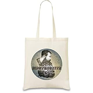 Hipstercrite Hipster Bart Schnurrbart - Hipstercrite Hipster Beard Moustache Custom Printed Tote Bag| 100% Soft Cotton| Natural Color & Eco-Friendly| Unique, Re-Usable & Stylish Handbag For Every Day