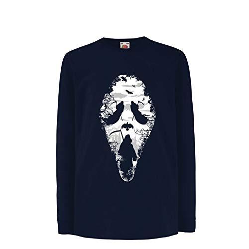 lepni.me Kinder-T-Shirt mit Langen Ärmeln Tribal Sensenmann Schrei - Tod gruselig beängstigend (5-6 Years Blau Mehrfarben)