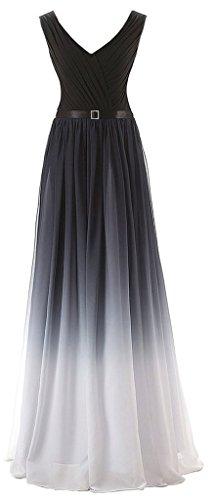 A-Line V-neck Floor-length Gradient Chiffon Dress Cocktail Evening Party sans (Dillards Roben)