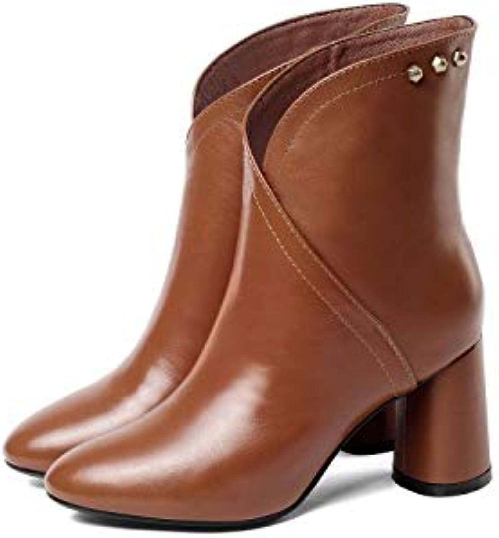 SWEAAY Boots Martin Bottes Martin Boots en Cuir pour Femmes Talon Épais Tête Ronde Basse Rivets Fantaisie Bottines À Manches 28c353