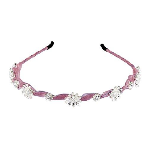 Sasairy tessuto lega Donne Bambine metallo strass perla Hairband Wedding fascia della decorazione dei capelli (Perla Del Trifoglio)