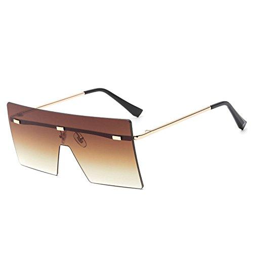 xuexue Europäischen Stil Sonnenbrille Große Box Rahmenlos Quadratisch Sonnenbrille Mode Mode Stück Retro Persönlichkeit Sonnenschirm Schutzbrille,Brown
