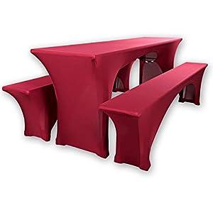 """Gräfenstayn® Leopold Stretch – Biertischhussen-Set 3 TLG für Bierzeltgarnitur – 50cm oder 70cm Tischbreite – mit Öko-Tex Siegel Standard 100 :""""Geprüftes Vertrauen 30566 (Bordeaux, 50x220cm)"""