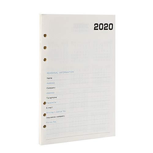 YHH Ricambio/Ricarica Agenda 2020 A5, Settimanale Mensile, Refill Diario Ricariche Planner Carta 6 Fori per Taccuino Quaderno Anelli 12 mesi Da Gennaio a Dicembre, 100 g/m²Pagine/Fogli Weekly Avorio