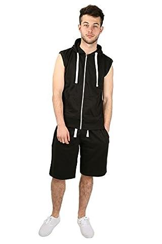 SCO New Mens 2 Piece Tracksuit Set Sleeveless Hoodie And 3 Quarter Length Trouser Fleece Fabric