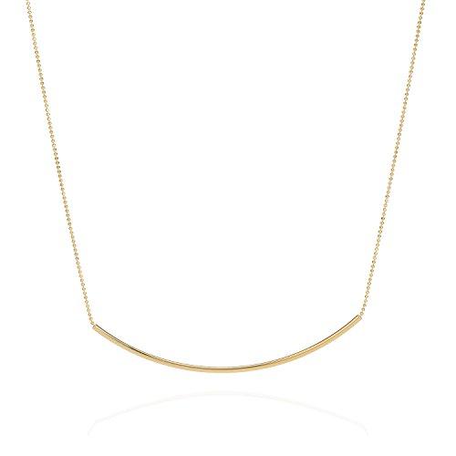 Tom Shot Damen Halskette Tube - Collier-Kette Röhre vergoldet 24 Karat Länge 40-48 cm - 44ke1114g -