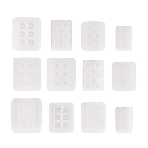 PandaHall 12er Pack Silikonharzformen mit Loch für Harz, Ton, Edelstein Cabochon Perlen Anhänger Charms Schmuck Casting (Würfel, rund, quadratisch, Abakus, Oval, Rhombus) -