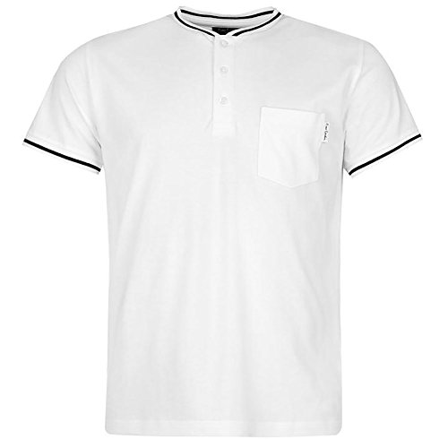 Pierre Cardin Herren 100% Baumwolle Kurzarm Pique Henley T-Shirt mit Kipphalsband und Manschetten (XL, White) (Baumwoll-henley Lauren)