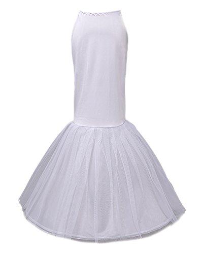 Beauty-Emily Enagua elastizada crinolina nupcial de la sirena del vestido de un aro Dos capas de color blanco, talla única