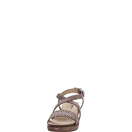 Sandales, couleur Rouge , marque GEOX, modèle Sandales GEOX D ABBIE Rouge Gris