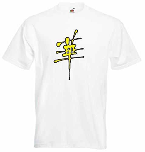 T-Shirt D492 T-Shirt Herren schwarz mit farbigem Brustaufdruck - Design Tribal Comic / abstrakte Retro Grafik Buchstabe China Asien Mehrfarbig