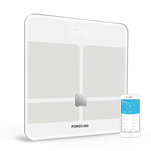 POWERADD Digitale Personenwaagen Bluetooth waage,5-180kg Körperwaage BMI Körperanalyse mit großem LED Display