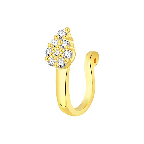 V. K. Jewels Gold Plated Alloy CZ American Diamond Nose Ring/Nose Pin For Women's - [VKNR1028G]