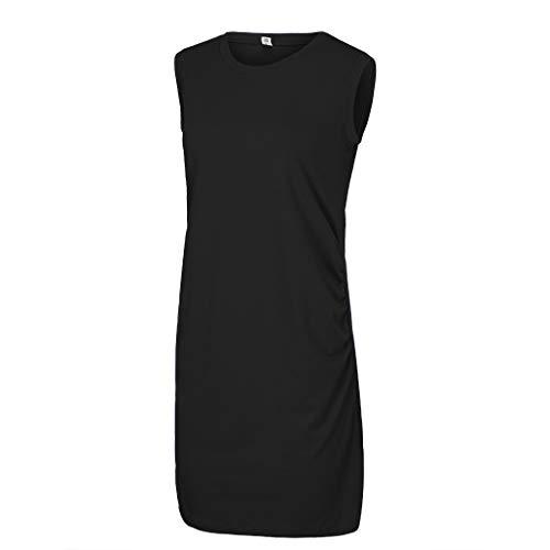 Holywin Damen Umstandskleid Schwangere Camisole O-Neck Reine Farbe ärmellose Weste langes Kleid