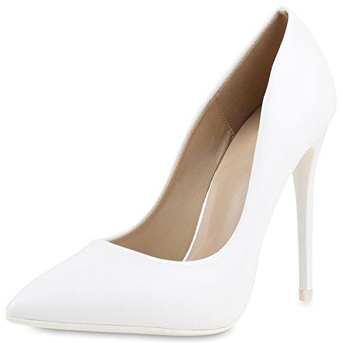 Damen Spitze Pumps Stilettos High Heels Lederoptik Elegante Schuhe Weiss White 37