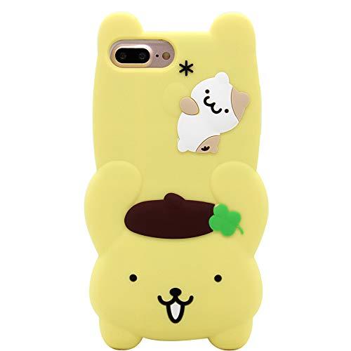 iPhone 6s Plus Hülle, iPhone 7 Plus Hülle, süße 3D Japan Cartoon Schutzhülle stoßfest, weiche Silikon Hülle für Apple iPhone 6 Plus/6S Plus/7 Plus/8 Plus (5,5 Zoll), Pom Pom Purin