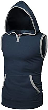 H2H Men's Casual Hoodie Tank Tops Sleeveless Shirts Gym Workout with Poc