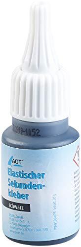 AGT Elastischer Kleber: Elastischer Sekundenkleber mit Dosierspitze, 20-g-Flasche, schwarz (Flexibler Kleber)