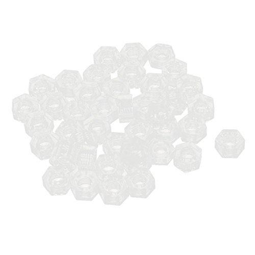 M3 Hexagon Lock Schroef bevestigingsmiddelen Nylon zeskantmoeren 50st Clear -