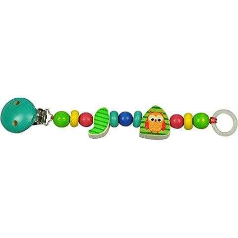 asmi per ciuccio con perline di legno multicolori e clip