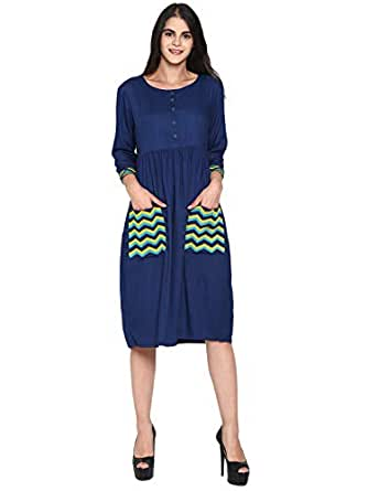 UNTUNG Women Blue Dress Embroidered Front Pockets