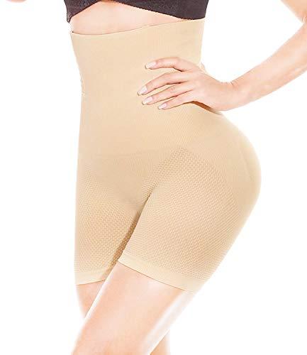 Honfay intimo modellante da donna guaina mutande contenitiva pantalone a vita alta dimagrante contenitiva fascia elastica shapewear, corpo shaper, seamless corsetto modellante (beige-l)