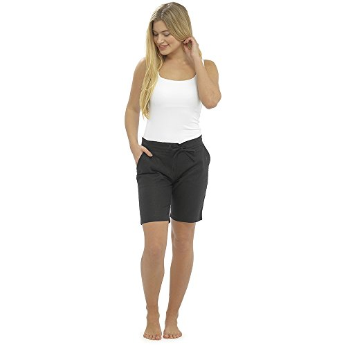 LADIES / WOMENS CASUAL LINEN COOL SHORTS, PERFECT FOR HOLIDAYS / SUMMER / BEACH (18, Black (4 pockets))