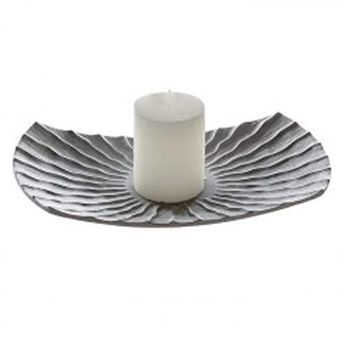 Bol Pearl, Céramique, gris argenté, 35 cm/Assiette décorative Bougie Assiette
