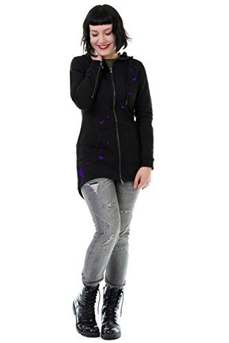 Jacke Frauen mit Reißverschluss Sweatjacke mit Kapuze Übergangsjacke Damen Schmetterlinge schwarz...