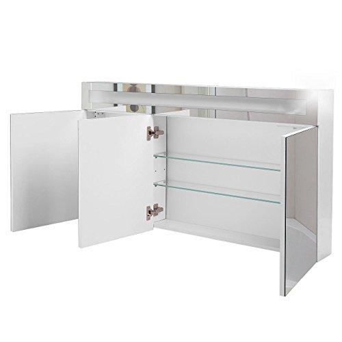 Badspiegelschrank beleuchtet BF01W120, 3-türig, 120x65x15cm, Weiss, inkl. Leuchtmittel - 2
