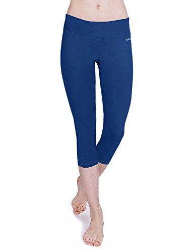 Baleaf Damen Yoga Sport Hose Workout Training CapriLeggings Innentasche Blau