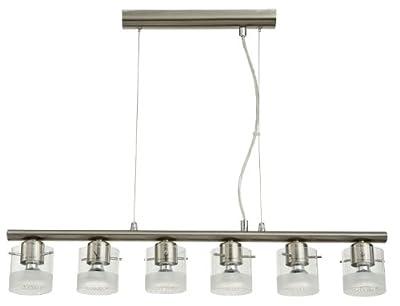 Pendelleuchte Deckenlampe Deckenstrahler Stahl Glas satiniert 6-Flammig LED BRIGHT von etc-shop bei Lampenhans.de