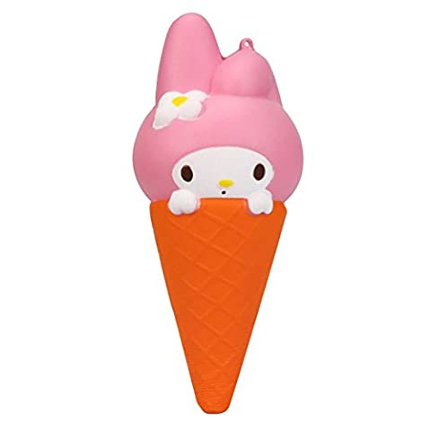 Jamicy Jumbo Colossal Rabbit Ice Cream Cones Stress Relieve Squeeze Toy Scented Super Slow Rising Kids Baby Cute Toy 20CM (Pink)