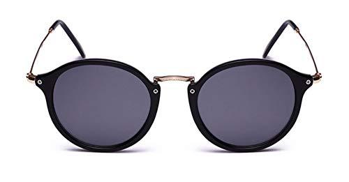 WSKPE Sonnenbrille Runde Sonnenbrille Sonnenbrille Frauen Männer Schattierungen Schildkröte Frame Sonnenbrillen Streuscheibe Schwarz
