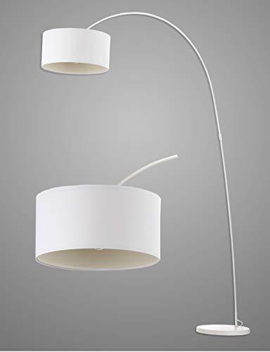 Modernluci arc Stehlampe Weiß, Modern Bogenlampe für das Wohnzimmer, Schlafzimmer lampe, zeitnah arc Stehleuchte Skandinavischer Stil mit Textilschirm,ø 40cm, Höhe:228cm, MEHRWEG - Licht Arc Stehlampe