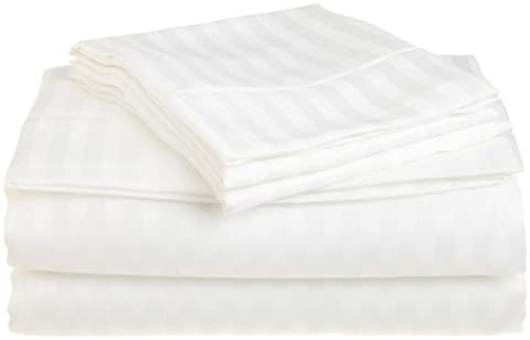 Superior 1500 Series Premium Quality 100% Brushed Soft Microfiber 3-Piece Luxury Deep Pocket Bed Sheet Set, Hypoallergenic, Wrinkle and Stain Resistant - Sateen Stripes, Single,