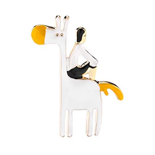 Fenical Tier Brosche Metall Kreative Persönlichkeit Cartoon Menschen Pferd Kostüm Abzeichen Pin Lady Corsage Pin (Mensch Pferd Kostüm)