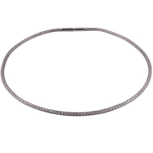 Schlauchkette Edelstahl - Made in Germany - 3 mm Stärke - Strickkette - gehäkelte Kette - Damen Halskette - Mesh Kette - Edelstahl Collier -