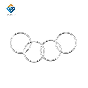"Topind 3"" Large Size Aluminium Baby Sling Rings for Baby Carriers & Slings of 4 pcs (Bright Silver)   3"
